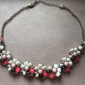 Pink and White Flower Statement Necklace